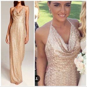 Amsale Honora Gold latte Bridesmaid prom Dress